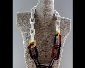 Multicolour Plastic Chain Link Long Statement Necklace no.13