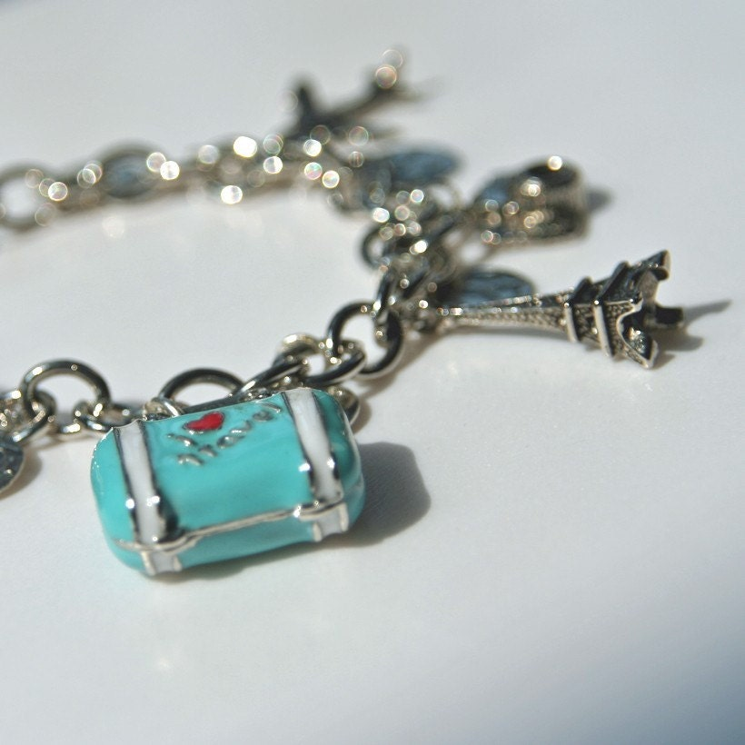 my vacation in silver charm bracelet