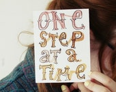 One Step- postcard print.