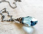 CIJ SALE - Blue Topaz Polygon Swarovski Crystal Pendant in Oxidized Sterling Silver - Ready to Ship