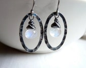 Rainbow Moonstone and Hammered Oval Earrings in Oxidized Sterling Silver Under 25
