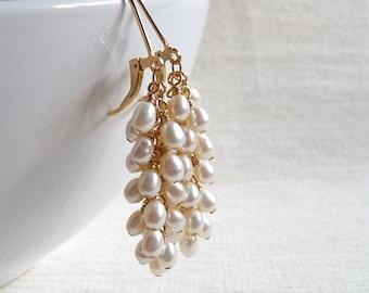 Pearl Cluster Earrings, Freshwater Pearl Dangle Earrings, June Birthstone Jewelry, Gold Filled Earrings, Bridal Jewelry, Wedding Jewelry