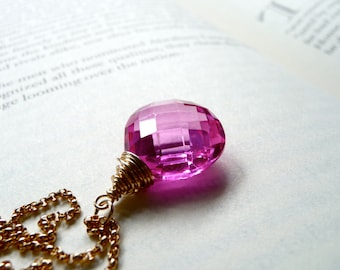 Hot Pink Quartz Necklace, Fuchsia Pink Hydro Quartz Gemstone Pendant, Neon Pink, Gold Filled Chain Necklace