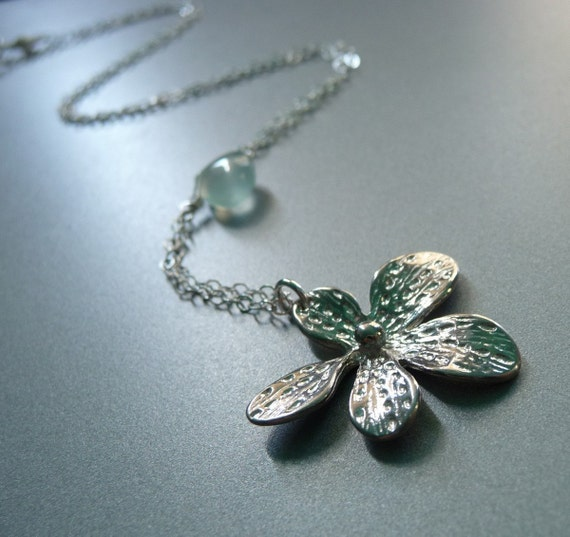 Flower Power (Blue Chalcedony Edition) -- Sterling Silver Flower Charm Necklace