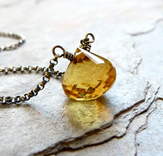 A Drop of Sunshine - AAA Citrine Quartz Faceted Onion Briolette Pendant in Oxidized Sterling Silver