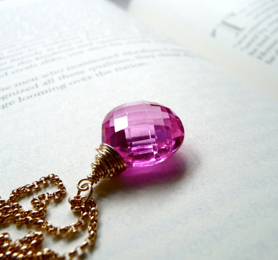 Hot Pink Quartz Necklace, Fuchsia Pink Hydro Quartz Gemstone Pendant, Neon Pink, Gold Filled Chain Necklace