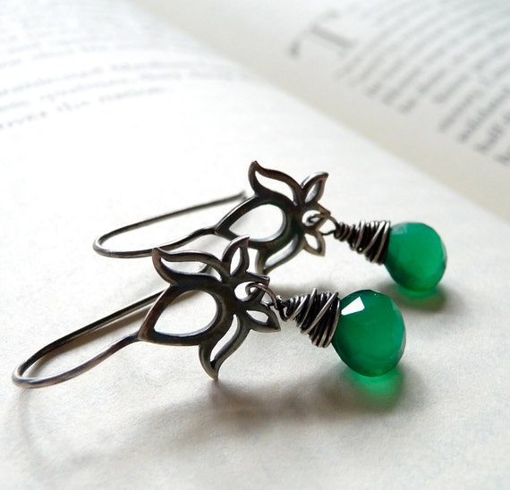 Lotus Earrings, Green Onyx Earrings, Yoga Jewelry, Oxidized Sterling Silver Earrings, Spring Jewelry, Mothers Day Gift