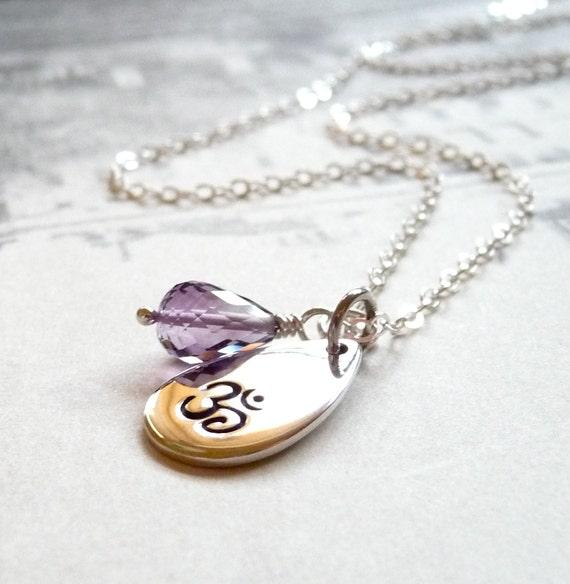Om Yoga Necklace, Ohm Necklace, Amethyst Gemstone Necklace, Yoga Jewelry, Sterling Silver Yoga Charm, Sterling Silver Charm Necklace