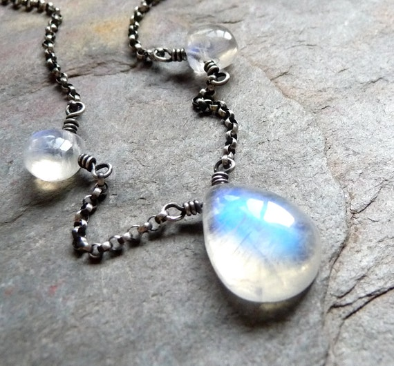 Smooth Rainbow Moonstone Necklace in Oxidized Sterling Silver Handmade