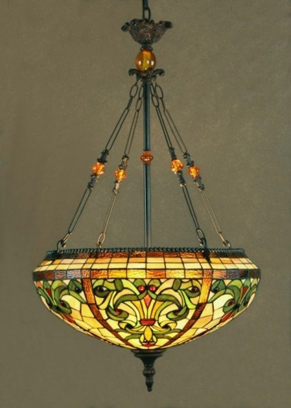 Dale Tiffany Stained glass pendant chandelier Topaz baroque