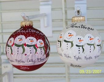 Snowman family ornaments