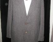 Vtg 60s Tan/Gray PENDLETON Wool HOUNDSTOOTH Plaid Blazer Jacket XL 44 Long
