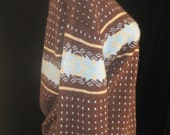 Vtg 70s Deep Oxblood/Brown Knit Blue SNOWFLAKES Print APRES SKI Sweater larger size