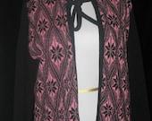 Vtg 60s Blk/Pink Wool  SNOWFLAKE Print/BOUCLE Diamonds ROCKABILLY Cardigan Sweater
