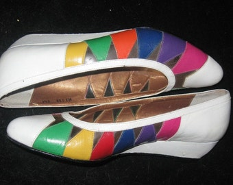 Vtg 80s White RAINBOW TRIANGLES Clear Cut-Outs Shoes Sz 6 37