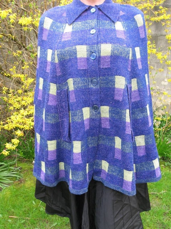 Vtg 60s Purple Yellow Buffalo Plaid Checks Metallic Knit  Swing Capelet with Collar Fits Many Sizes