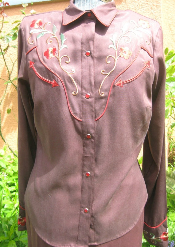 Vtg 80s Brown COWGIRL Embroidery Western Shirt Mermaid Skirt  2 pc  Dress L