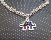 Autism Awareness Necklace - Asperger necklace - Puzzle Piece necklace - Chainmaille necklace- autism necklace