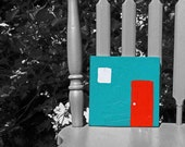 Red Door on Teal - Original Painting