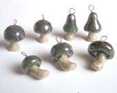 Mushroom Pendant - Green Iridescent - Stoneware