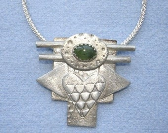 Silver Angel Heart with Jade