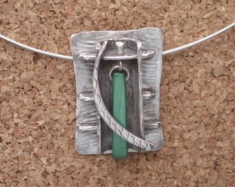 Malachite and Fine Silver Pendant