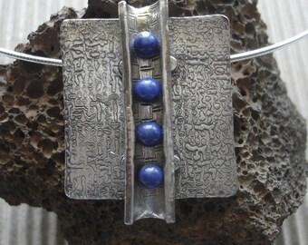 Fine Silver Channeled Lapis Lazuli