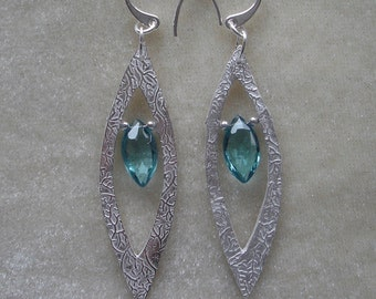 Fine Silver Marquise Leaf Earrings
