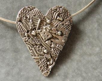 Heart Collage in Fine Silver