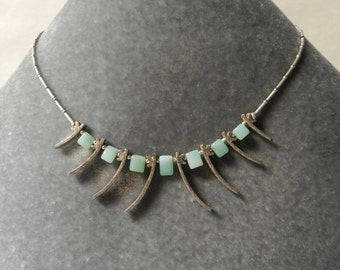 Fine Silver and Chrysoprase Necklace