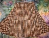 1950s Pleated  Black and Orange Skirt