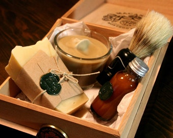 Three Eco Friendly Shaving Kits  - Cigar Box Shave Set