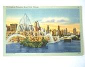 Buckingham Fountain, Grant Park, Chicago 1940s Linen Postcard