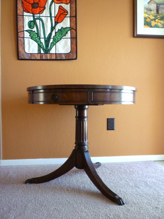 SALE Duncan Phyfe 1930 Drum Table Walnut - Claw Feet - Made in USA - Marked