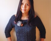 Knitting Pattern - Aran off-shoulder pullover with crochet flowers