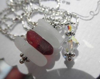 Rare Red Beach Glass  Heart and Stripes Lake Erie Beach Glass Necklace