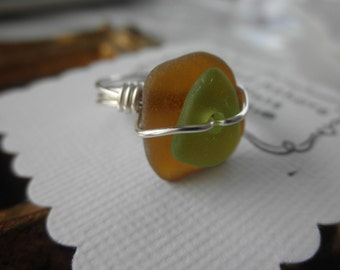 Kelly Green and Brown Lake Erie Beach Glass Ring size 7