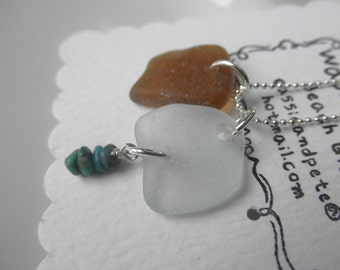SALE Treasures of the Sand Lake Erie Beach Glass Necklace