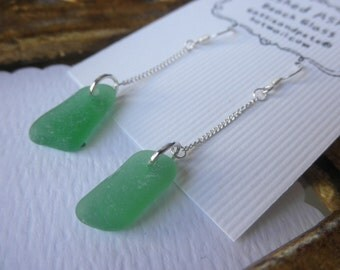 Long Green Beach Glass Dangles