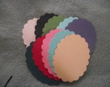 10 Scalloped Cardstock Ovals