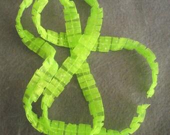 Gathered Lime Green with white polka dot Ribbon Destash