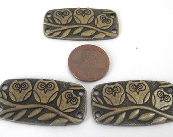 Owl Connector Components 3 piece set Bronze/Brass/Gold Component Destash