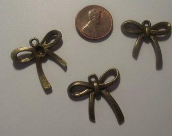 Bow Pendant Charms 3 piece set Bronze/Brass/Gold Component Destash