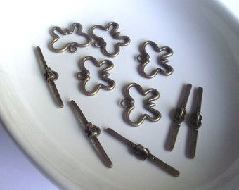Bronze Butterfly toggle clasp 5 piece set Component Destash