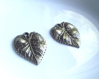 Bronze Leaf charms Components 2 piece set Bronze/Brass/Gold Component Destash