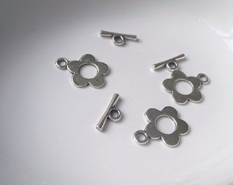 Toggle Clasps set of 3 Silver tone Component Destash