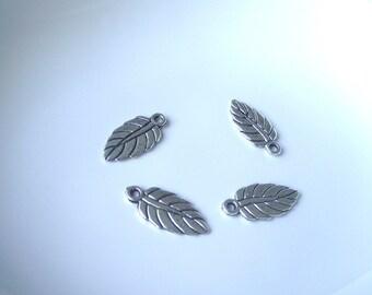 Silver tone Leaf Component Destash 19mm