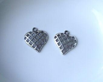 Silver tone Heart Component Destash 23x21mm 2 piece