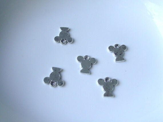 Silver tone Mickey Mouse Head Component Destash 22mm-5 pieces