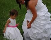 White Taffeta Pick Up Flower Girl Dress with Tulle Sash